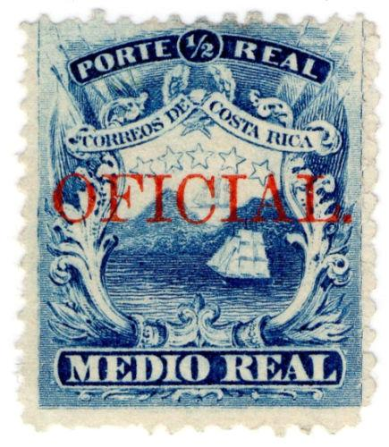 Costa Rica Ross26 1/2 real, plate 2 overprint OFICIAL Stamp Unused.
