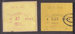EARLY NCR meter stamps: Three Diff sm flaws Nice Group VF! 1932 1935