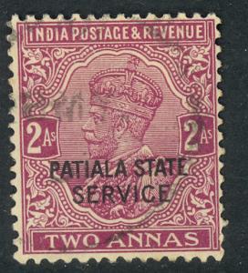 INDIA ICS PATIALA 1927-36 KGV 2a Dull Violet OFFICIAL Scott No. O44 VFU