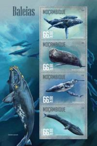 Mozambique MNH S/S Whales Marine Life 4 Stamps 2016