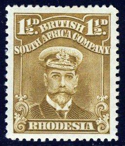 RHODESIA King Geprge V 1917 1½d. Bistre-Brown Admiral SG 198 MINT