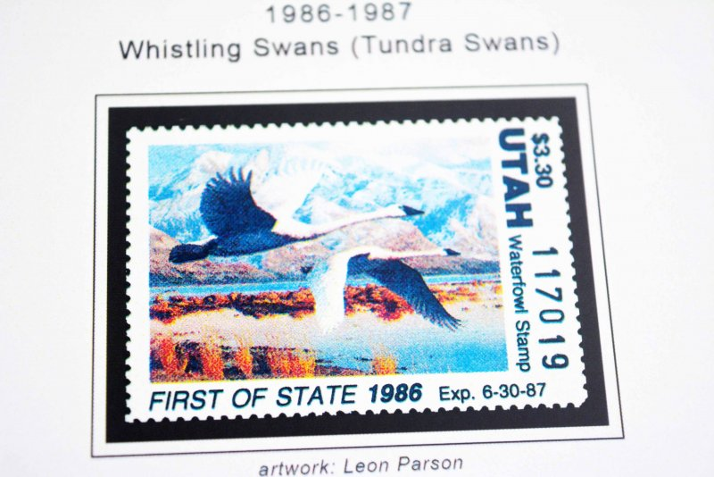 COLOR PRINTED USA FIRST OF STATE DUCK 1971-1996 STAMP ALBUM PAGES (57 ill. pgs)