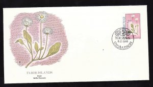 Flora & Fauna of the World #117d-Flower FDC-Daisy-Faroe Is.-single stamp and cor