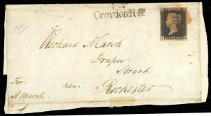 GREAT BRITAIN #1, RARE PLATE 8 ON UNFOLDED LETTER