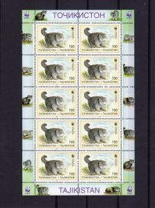 Tajikistan 1996  WWF Pallas Cats 6 Sheetlets  (60v) perforated MNH Sc # 92-97