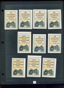 10 VINTAGE 1914 GERMAN GLASS DAY EXPO POSTER STAMPS (L786) DANZIG GERMANY