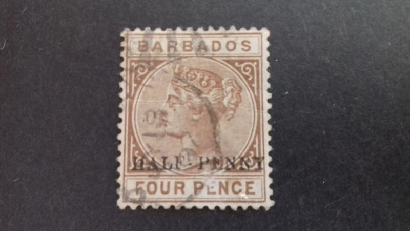 Barbados 1892 Queen Victoria half penny surcharge over 4 pence Used