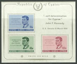 Cyprus # 253a JFK Memorial souv.sheet  (1) Mint NH