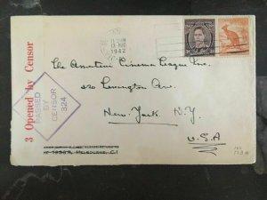 1942 Newcastle Australia Triple Censored Cover to New York Usa
