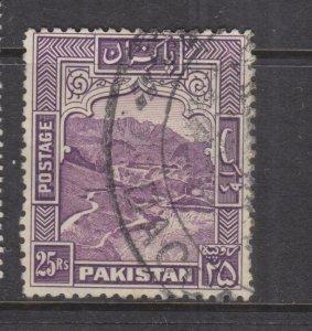 PAKISTAN, 1948 perf. 12, 25r. Purple, used.