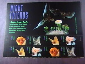 U.S.# 3661-3664(3664a)MINT/NH-PLATE# BLOCK OF 8-WITH LABEL--AMERICAN BATS --2002