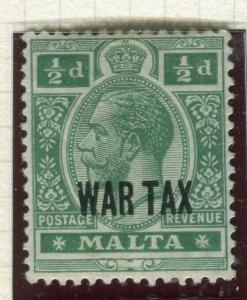 MALTA; 1917-18 early WAR TAX Optd. issue fine Mint hinged 1/2d. value