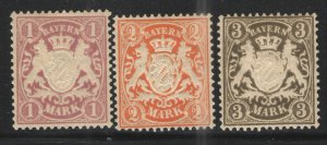 German States - Bavaria 1911 Sc# 73-75 MH/HR VG - Nice grouping