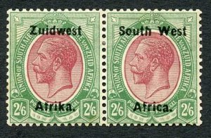 South West Africa SG24 2/6 M/M pair (toned gum) Cat 50 Pounds