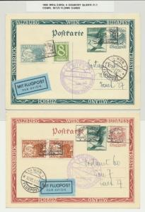 AUSTRIA 1933 WIPA EXPO 4 COUNTRY GLIDER FLOWN CARDS COMPLETE SET OF 3(SEE BELOW)