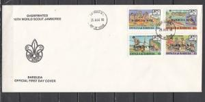 Barbuda, Scott cat. 982-985. 16th World Scout Jamboree on a First day cover.
