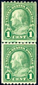 US 604 – 1924 1c Franklin. Line Pair. MNH OG VF.