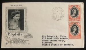 1953 Turks & Caicos Island QE2 Coronation First Day Cover Queen Elizabeth To USA