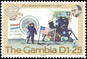 Gambia #493-496, Complete Set(4), 1983, Balloons, Airplanes, Space, Never Hinged