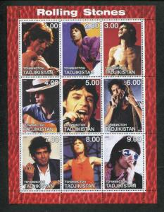 Tajikistan Commemorative Souvenir Stamp Sheet - Rock Band Rolling Stones