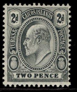 TURKS & CAICOS ISLANDS EDVII SG119, 2d greyish slate, M MINT.