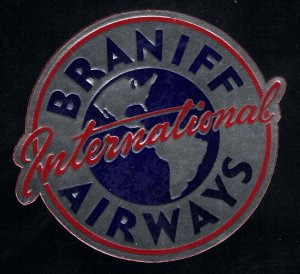 Braniff International Airways - Large Foil Vintage Poster Stamp, Great Condition