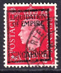GREAT BRITAIN 259 LIQUIDATION OF EMPIRE SINGAPORE OVERPRINT USED VF SOUND 2