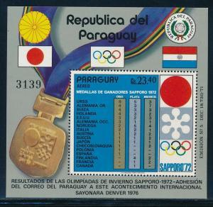 Paraguay - Sapporo Olympic Games MNH Souvenir Sheet Winners  #C346 (1972)