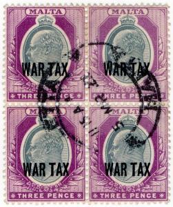 (I.B) Malta Postal : 3d Grey & Purple War Tax (SG 93)