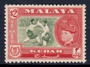 MALAYA (KEDAH) — SCOTT 92 (SG 101) — 1957 $2 BERSILAT PICTORIAL — MLH — SCV $32