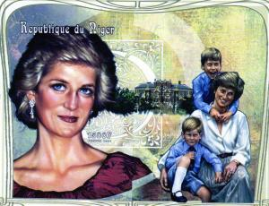Niger 1997 Sc#965 Diana with William & Harry SS(1) Imperforated MNH