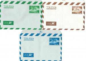 ISRAEL 1950's 3 x Airmail Aerogrammes 120pr -150pr-180pr, Unused Mint