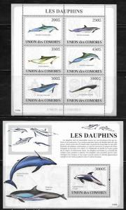 Comoro Islands 1093-94 Dolphins Mint NH
