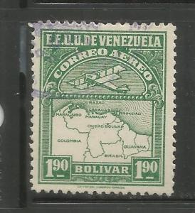 VENEZUELA, C10, USED, AIRPLANE AND MAP