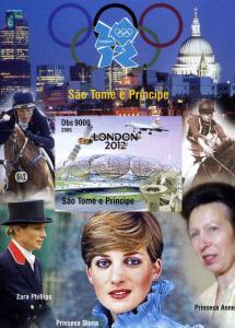 Sao Tome & Principe London Olympics 2012 Princess Diana Imperforated mnh.vf #4