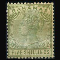 BAHAMAS 1884 - Scott# 31 Queen 5s LH faults