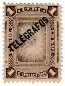 (I.B) Peru Telegraphs : 1P Grey Brown (1896)