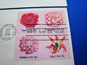 U.S. FIRST DAY COVER SETS - SET of 5 - 1981 FLOWERS OF AMERICA   (FDC-24x)