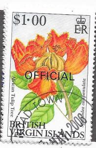 British Virgin Islands #O67 $1.00 Tulip Tree (U) CV$3.75