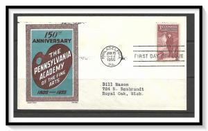 US #1064 Pennsylvania Fine Arts Academy Cachet Craft Boll FDC