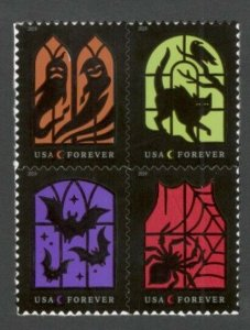 5420-23 (5423a) Spooky Silhouette Block Of 4 Mint/nh Free Shipping