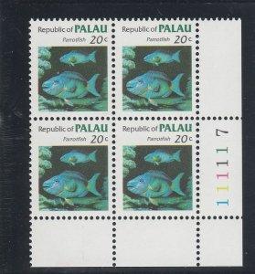 Palau  Scott#  14  MNH Block of 4  (1983 Parrotfish)