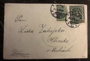 1924 Vienna Austria Registered Cover To  Hlinsko Czechoslovakia