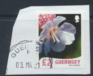 Guernsey  SC# 984  Used on piece  Flower Sea Campion  see detail & scan