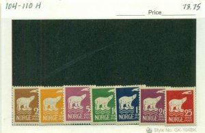 NORWAY #104-110, Mint Hinged, Scott $73.75