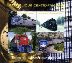 Central African Republic 2011 NORTH AMERICAN Trains Sheet (4) Perforated mnh.vf
