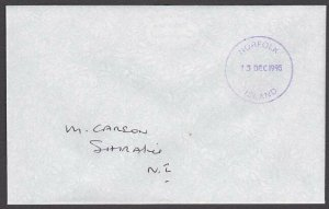 NORFOLK IS 1995 local cover postage paid in cash - Violet cds...............A732