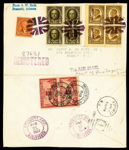 US Unfolded Registered Stamp Cover 1929 registered cover with fancy cancel