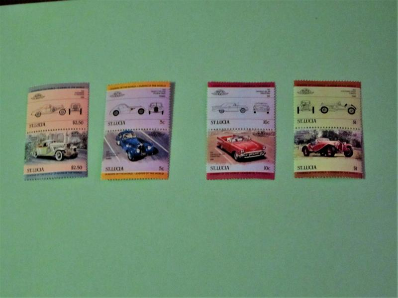 St. Lucia -653-56, MNH Set (Pairs). Automobiles. SCV - $1.65