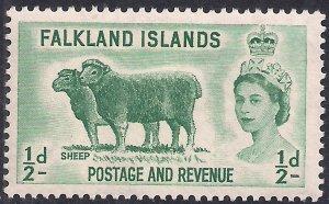 Falkland Islands 1955 - 57 QE2 1/2d Green Sheep MM SG 187 ( G353 )